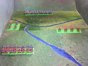 Red waits while Blue deploys two troops in scouting formation