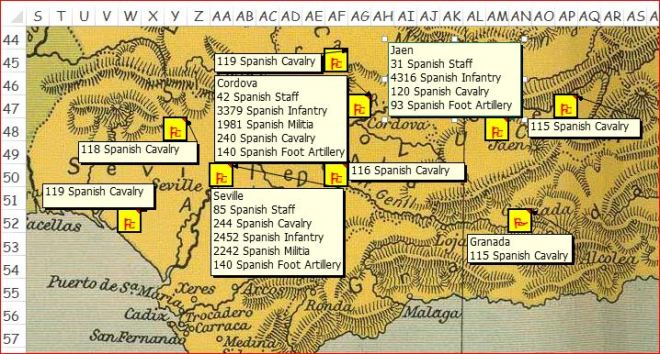 Castaños' forces in Andalusia