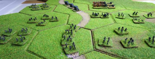 German 1st Infantry 1st September 1939. GHQ and Heroics models on Kallistra hexagon tiles.