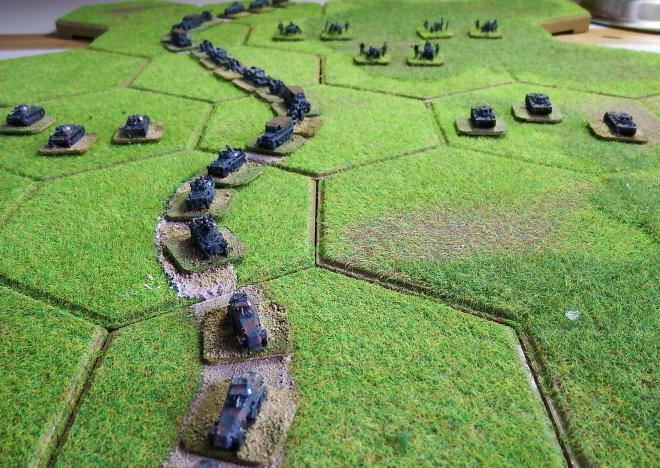 German 2nd Panzer force September 1st 1939.  GHQ models on Kallistra hex tiles.