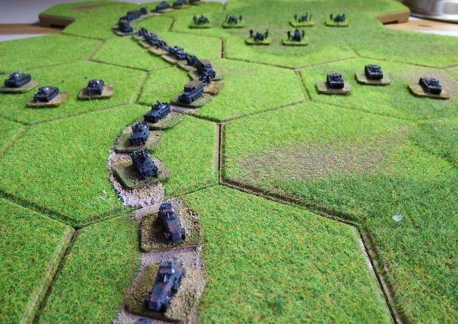 German 2nd Panzer force September 1st 1939.  GHQ models on Kallistra hex tiles.