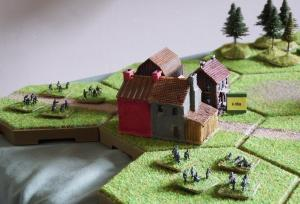 Meanwhile in the northwest German infantry make a pincer attack on Cerekwica, defended by a company of Polish infantry.