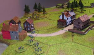 On the western flank things were not going well for the Germans.  Rifle fire from the Poles in the woods was inflicting casualties on the Germans in Cerekwica (left) and the Poles in Mrowino (right) were holding up the advance of the German infantry across the open fields.