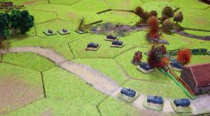 """Napachanie: The Polish and German armour begins to """"mix it"""" while some armoured half tracks set off to deal with the AT rifle unit in the central wood."""