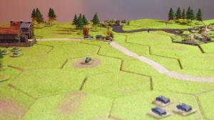 In the centre the remaining German armoured car surprises the Polish truck convoy, destroying two of the three trucks.  The German tanks are keeping well to the south of the dangerous wood as they head for Mrowino.