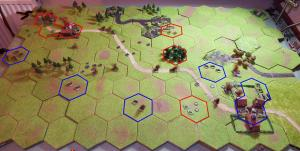 Aerial view from the south of the battlefield at the end of the game with Polish positions outlined in red and German positions in blue