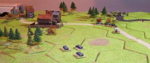 Mrowino.  The last Polish truck explodes and the Pz II unit catches the Polish tankettes from the rear.