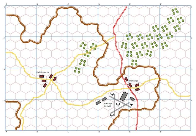 A wargaming map created in Excel