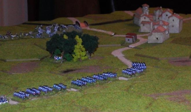 The French column marches into the trap.