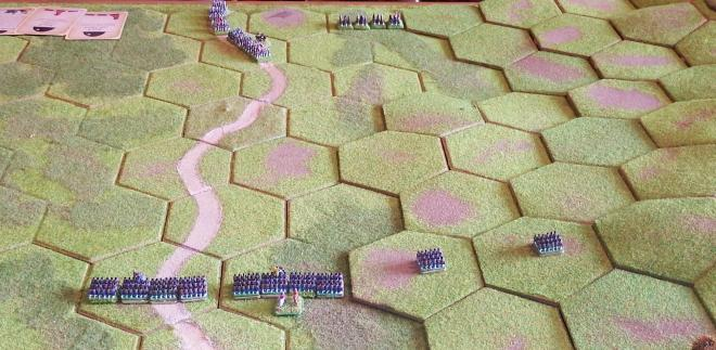 The opening move with Portuguese pickets on the slopes and the French starting their flanking manoeuvre